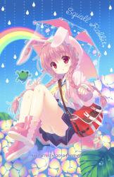 animal_ears braid bunny_ears hooded_jacket long_hair original pink_hair red_eyes santa_matsuri school_uniform twin_braids umbrella