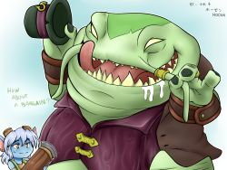 1boy 1girl blue_skin green_skin gun hat hat_removed headwear_removed jewelry league_of_legends licking_lips no_pupils open_mouth ring saliva size_difference sweatdrop tahm_kench teeth tongue tongue_out top_hat tristana vilde_loh_hocen weapon white_hair yellow_eyes yordle
