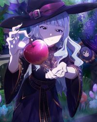 2girls apple beamed_quavers black_nails character_name costume dress fingernails food fruit hat idolmaster idolmaster_million_live! long_fingernails long_hair million_live_card mochizuki_anna multiple_girls musical_note nail_polish official_art shaded_face shijou_takane silver_hair smile snow_white_and_the_seven_dwarfs tree witch_hat