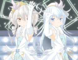 2girls blue_eyes drill_hair elbow_gloves gloves hat hibiki_(kantai_collection) idolmaster idolmaster_cinderella_girls jack_(slaintheva) kantai_collection kanzaki_ranko_(cosplay) kikuzuki_(kantai_collection) long_hair multiple_girls nitta_minami_(cosplay) parody pure_white_memories seiyuu_connection short_hair silver_hair twin_drills verniy_(kantai_collection)