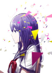 1girl absurdres black_eyes from_side highres long_hair multicolored_hair original purple_hair shirt silver_hair simple_background solo tsukun112 two-tone_hair upper_body white_background white_shirt