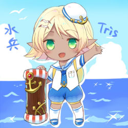 1girl anchor bird blonde_hair blue_skin cannon chibi dark_skin green_eyes hair_ornament hairclip hamamo hat league_of_legends looking_at_viewer lowres ocean open_mouth pointy_ears seagull solo tristana yordle