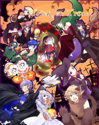 6+boys 6+girls animal_ears axe bandage bare_shoulders basket black_hair blonde_hair blood blush book breasts cape choker cleavage costume dark_pit doubutsu_no_mori dr._mario dress dual_persona earrings eating eggplant english facial_hair fake_animal_ears fake_tail fang fire_emblem fire_emblem:_akatsuki_no_megami fire_emblem:_kakusei firmicus food green_hair hairband halloween halloween_costume hat head_mirror highres hockey_mask ice_climber ike jack-o'-lantern jewelry kid_icarus kid_icarus_uprising link long_hair looking_at_viewer luigi mario mask meat medicine multiple_boys multiple_girls mummy mustache my_unit nana_(ice_climber) open_mouth palutena pipe pit_(kid_icarus) pointy_ears ponytail popo_(ice_climber) princess_peach princess_zelda pumpkin shaded_face short_hair smile star stitches super_mario_bros. super_smash_bros. sweatdrop the_legend_of_zelda vampire_costume villager_(doubutsu_no_mori) warp_pipe weapon werewolf white_hair witch witch_hat