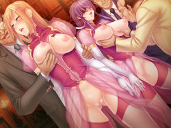 2girls areolae bald black_lilith blonde_hair blue_eyes blush breast_grab breast_sucking breasts breasts_outside censored earrings elbow_gloves eyepatch fat_man female game_cg garter_belt glasses gloves group_sex hair_ornament hairclip hetero jewelry kagami_hirotaka kiss large_breasts legs licking lilith-soft long_hair multiple_boys multiple_girls necktie nipple_teasing nipple_tweak nipples no_bra no_panties old onmyou_kishi_towako orgy purple_hair pussy saliva smile standing sweat tattoo thighhighs thighs tongue tongue_out ugly_man wet wrinkles yellow_eyes zol