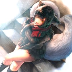 1girl ahri alternate_costume animal_ears artist_name bibiko black_hair fox_ears fox_tail highres league_of_legends legs_crossed long_hair looking_at_viewer multiple_tails red_scarf scarf sitting socks solo sweater tail whisker_markings yellow_eyes