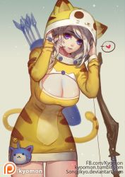 1girl adjusting_clothes animal_costume animal_ears animal_hood arms_up arrow artist_name ashe_(league_of_legends) behind_back bell blonde_hair bow_(weapon) breasts cat_costume cat_ears cat_hood cat_tail cleavage cleavage_cutout cowboy_shot fake_animal_ears fake_tail fletches heart hood jingle_bell large_breasts league_of_legends leaning_forward legs_together light_smile maokai meowkai meowkai_(cosplay) parted_lips purple_eyes quiver riot_games short_hair simple_background solo songjikyo speech_bubble spoken_heart standing tail watermark weapon web_address yellow_background