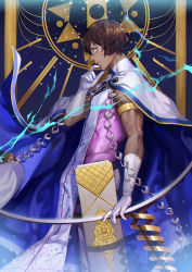 1boy arjuna_(fate/grand_order) armlet blue_fire bow_(weapon) brown_eyes brown_hair cape cloak dark_skin dark_skinned_male fate/grand_order fate_(series) fire gloves highres male_focus nianbingzi sleeveless solo weapon white_gloves