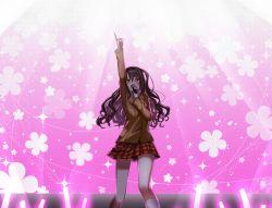 1girl :d blazer blush boo_1 brown_eyes brown_hair cardigan cowboy_shot crying half_updo happy_tears highres idolmaster idolmaster_cinderella_girls index_finger_raised jacket long_hair long_sleeves microphone music open_mouth outstretched_hand pink pleated_skirt s(mile)ing! school_uniform shimamura_uzuki side_ponytail singing skirt smile solo tears wavy_hair