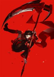1girl ask_(askzy) black_boots black_dress black_hair black_legwear boots cape capelet cross-laced_footwear dress frilled_dress frills knee_boots lace-up_boots long_sleeves looking_at_viewer looking_back pantyhose petals red_background red_cape rose_petals ruby_rose rwby scythe short_hair silver_eyes solo