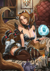 1girl ahri alternate_costume animal_ears bare_shoulders blue_eyes blue_fire bookshelf bottle bow breasts brown_hair candle candlestand chair cleavage energy_ball fire fork fox_ears fox_tail high_heels highres knife large_bow large_breasts league_of_legends multiple_tails short_ponytail sitting smile solo tail teapot thigh_strap thighhighs tnwjd2tkfkd wariza whisker_markings wrist_cuffs