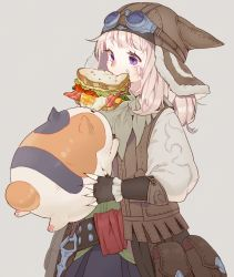 1girl animal animal_hat bandaid bandaid_on_face belt black_gloves cat cat_hat eating facial_mark fat_cat_(ff14) fat_cat_(final_fantasy_xiv) final_fantasy final_fantasy_xiv fingerless_gloves food food_in_mouth food_on_face gloves goggles goggles_on_hat hat holding_animal long_hair miqo'te mouth_hold pouch purple_eyes sandwich scratches vest wagashi_(goma_dango) white_hair