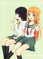 2girls black_hair blue_eyes gokou_ruri kousaka_kirino large_cat_(art_dream1) long_hair multiple_girls orange_hair ore_no_imouto_ga_konna_ni_kawaii_wake_ga_nai school_uniform serafuku sitting v