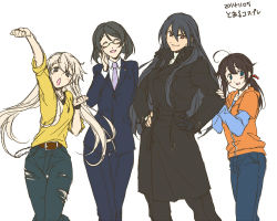 4girls alternate_costume belt black_hair blonde_hair blue_eyes casual chains contemporary denim formal glasses gloves hoodie jeans kantai_collection kirishima_(kantai_collection) long_coat long_hair multiple_girls nagato_(kantai_collection) necktie pants red_eyes shigure_(kantai_collection) shimakaze_(kantai_collection) short_hair smile smirk suit torn_clothes torn_jeans trench_coat tsuzuki_masumi watch wristwatch