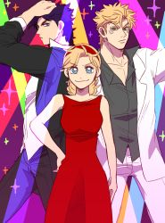 1girl 2boys absurdres black_hair blonde_hair blue_eyes caesar_anthonio_zeppeli dress earrings facial_mark green_eyes hairband hand_on_hip highres jacket jewelry jojo_no_kimyou_na_bouken joseph_joestar_(young) multiple_boys pose red_dress sachiko_(rinana239) sleeves_rolled_up smile sparkle suzi_q