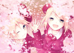 1boy 1girl blazer blonde_hair brother_and_sister cherry_blossoms fang from_above hat hat_removed headwear_removed hinata_(princess_apple) jacket kagamine_len kagamine_rin long_sleeves looking_at_viewer looking_up neck_ribbon one_eye_closed open_mouth petals pleated_skirt red_hat red_jacket red_ribbon red_skirt ribbon short_hair siblings skirt smile twins vocaloid yellow_eyes