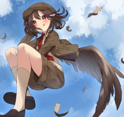 1girl black_hair black_shoes black_wings blue_sky blush brown_jacket brown_shorts cloud collared_shirt feathered_wings feathers flat_cap floating hat highres jacket kneehighs legs_up looking_afar necktie pointy_ears red_eyes red_necktie shameimaru_aya shirt shoes short_hair shorts sky solo tongue tongue_out touhou usamata white_legwear white_shirt wind wings