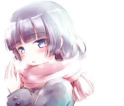 1girl black_hair blue_eyes breath gokou_ruri herunin long_hair mittens ore_no_imouto_ga_konna_ni_kawaii_wake_ga_nai scarf