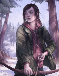 1girl arrow artist_name astri_lohne_sjursen bags_under_eyes bangs bird bow_(weapon) brown_hair clothes_writing coat day drawing_bow ellie_(the_last_of_us) forest green_eyes highres holding holding_weapon hood hoodie long_hair long_sleeves nature open_clothes open_coat outdoors parted_lips realistic snow solo swept_bangs the_last_of_us tree weapon