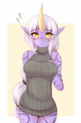 1girl :o aran_sweater arm_behind_back ayatori_(aytr) blush breasts hand_on_breast highres horn large_breasts league_of_legends long_hair looking_at_viewer multi-tied_hair pointy_ears ponytail purple_skin ribbed_sweater solo soraka sweatdrop sweater tattoo very_long_hair white_hair yellow_eyes