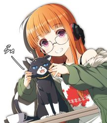 1girl cat glasses headphones jacket long_hair morgana_(persona_5) orange_hair persona persona_5 purple_eyes sakura_futaba yume_no_owari
