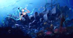 1girl air_bubble black_dress blue_eyes blue_hair closed_mouth dolphin dress fish floating_hair frills hatsune_miku highres jellyfish long_hair looking_up ocean shinkai_shoujo_(vocaloid) solo sombernight stingray treasure_chest underwater very_long_hair vocaloid