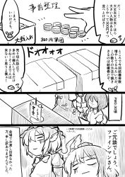 2girls artist_self-insert berusuke_(beru_no_su) bow box comic hat head_wings monochrome multiple_girls mystia_lorelei shameimaru_aya sitting smile standing tokin_hat touhou translation_request wings