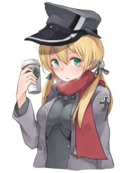 1girl anchor_hair_ornament blonde_hair blush breath bust green_eyes hat iron_cross jacket kantai_collection looking_at_viewer military military_hat military_jacket military_uniform no_gloves peaked_cap prinz_eugen_(kantai_collection) red_scarf roll_okashi scarf simple_background solo starbucks twintails uniform white_background