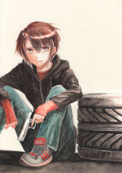 1girl artist_name brown_hair denim gun handgun highres hood hoodie jeans leg_hug light_smile lips lipstick looking_at_viewer makeup millipen_(medium) mole mole_under_mouth original pants pistol shoes short_hair simple_background sitting sneakers solo tesun_(g_noh) tire traditional_media watercolor_(medium) weapon white_background