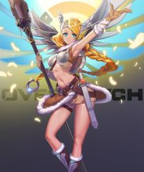 1girl adapted_costume alternate_costume alternate_hairstyle arm_up armor armpits belt bikini_armor blonde_hair blue_eyes blue_wings boobplate boots bracer braid breastplate breasts brown_boots brown_gloves copyright_name cowboy_shot feathers forehead_protector fur_collar fur_trim glint gloves glowing glowing_wings gradient gradient_background grey_background hair_rings head_wings highres holding holding_staff jewelry leg_lift littleamber logo long_hair medium_breasts mercy_(overwatch) midriff navel outstretched_arm overwatch parted_lips ring sheath sheathed shield solo spread_wings staff sword thigh_strap valkyrie_mercy weapon wings yellow_background