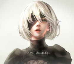 1girl black_dress black_hairband blindfold blindfold_slip blue_eyes cleavage_cutout copyright_name dress eyelashes grey_eyes hair_between_eyes hairband juliet_sleeves lips lipstick long_sleeves looking_at_viewer makeup mole mole_under_mouth nier_(series) nier_automata no_blindfold nose one_eye_covered open_mouth parted_lips pink_lips pink_lipstick puffy_sleeves ribbed_dress ribbon ribbon-trimmed_dress ribbon_trim shale short_hair silver_hair solo teeth turtleneck upper_body white_hair white_ribbon yorha_no._2_type_b