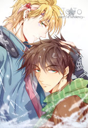 2boys blonde_hair blue_jacket brown_hair caesar_anthonio_zeppeli facial_mark green_eyes hasumi_(693082547) jacket jojo_no_kimyou_na_bouken joseph_joestar_(young) male multiple_boys scarf