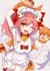 1girl ;d animal_ears apron arm_up armpits bangs bell bell_collar blurry blush bow bowtie breasts caster_(fate/extra) cat_hair_ornament claws cleavage collar eyebrows_visible_through_hair fang fate/extra fate/grand_order fate_(series) fox_ears fox_tail gloves hair_between_eyes hair_bow hair_ornament highres jingle_bell knees_together leg_garter looking_at_viewer maid_headdress naked_apron one_eye_closed open_mouth paw_gloves paw_print paws pink_hair pocket ponytail red_bow ribbon_trim sakurano_shiyue sash simple_background smile solo tail tamamo_cat_(fate/grand_order) white_bow yellow_eyes