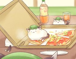 0_0 :3 animal_ears cat_ears cat_tail chen commentary_request food glass green_hat ibarashiro_natou jewelry mob_cap multiple_tails nekomata pizza pizza_box single_earring tail touhou two_tails
