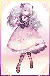 1girl bangs border bow commentary_request curly_hair dress frilled_dress frills full_body grey_hair hair_bow hand_on_own_shoulder lolita_fashion long_hair long_sleeves moemoe3345 neck_ribbon one_eye_closed open_mouth original outstretched_hand pegasus print_dress print_legwear purple_eyes ribbon rocking_horse shoes solo