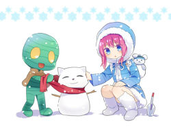 1boy 1girl :3 amumu annie_hastur blue_eyes boots hamamo hooded_jacket league_of_legends mummy open_mouth pink_hair scarf snow snowflakes snowing snowman squatting teemo tibbers trowel yellow_eyes