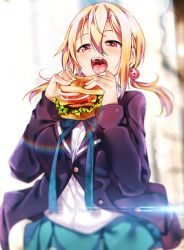 1girl bangs black_jacket blazer blonde_hair blurry blurry_background blush bokeh breasts buttons cowboy_shot depth_of_field dress_shirt eating food green_ribbon grey_shirt hair_between_eyes hair_ornament hamburger holding holding_food jacket large_breasts long_hair long_sleeves low_twintails neck_ribbon open_mouth original red_eyes ribbon ryouma_(galley) school_uniform shirt sidelocks skirt solo sparkle teeth tongue twintails