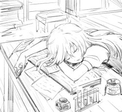 1girl book desk eyes_closed headwear_removed inkwell kirisame_marisa leon_(mikiri_hassha) long_hair monochrome open_book open_mouth pen puffy_sleeves short_sleeves sleeping solo test_tube touhou