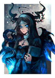 +_+ 1girl black_hair black_nails blue_eyes book breasts cleavage highres horns jewelry long_hair looking_at_viewer nail_polish necklace nun original snake solo wings yumepon