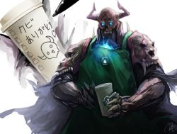 1boy apron armor blue_fire coffee commentary_request cup drawing fate/grand_order fate_(series) fire glowing glowing_eyes green_apron heart horns king_hassan_(fate/grand_order) male_focus mask pen re_lucy simple_background skull skull_mask solo starbucks translation_request twitter_username white_background writing