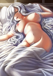 1girl absurdres bed bed_sheet blanket blush breasts breasts_apart collarbone drooling eyes_closed groin hair_over_one_eye head_tilt highres ichina_(osabakitina) indoors inverted_nipples large_breasts long_hair lying midriff morning navel nude on_back on_bed open_mouth original pillow pubic_hair saliva silver_hair sleeping solo stomach sunlight sweat under_covers wavy_hair
