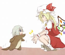 2girls :d animal_costume blonde_hair blue_eyes child dog_costume dog_slippers flandre_scarlet happy hat izayoi_sakuya mob_cap multiple_girls open_mouth puffy_short_sleeves puffy_sleeves red_eyes shirt short_sleeves silver_hair skirt skirt_set smile squatting touhou vest wings wrist_cuffs younger yuuta_(monochrome)