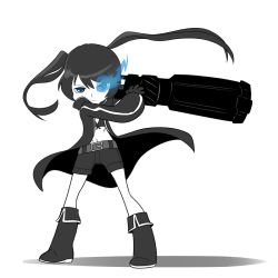 1girl arm_cannon belt black_boots black_coat black_rock_shooter black_rock_shooter_(character) blue_eyes boots burning_eyes front-tie_top mary_cagle midriff monochrome navel scar serious short_shorts shorts solo spot_color twintails weapon