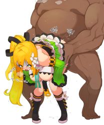 1boy 1girl ahegao areolae bent_over blonde_hair blush bow breasts breasts_outside clothed_female_nude_male elsword fat fat_man flower gloves green_eyes green_hair green_skirt hair_ornament hanging_breasts happening18 hetero highres inverted_nipples korean large_breasts long_hair nipples nude open_mouth penis rape rena_(elsword) sex side_ponytail simple_background skirt solo_focus tears thighhighs top-down_bottom-up trembling vaginal white_background wind_sneaker_(elsword)