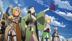 4girls a-1_pictures alicia_rue animated animated_gif arm_warmers bell bell_collar black_hair blonde_hair bouncing_breasts breasts collar dark_skin fan green_eyes hands_together kimono large_breasts leafa long_hair multiple_girls one_arm_up open_mouth outdoors pettanko pointy_ears ponytail sakuya_(sao) screencap short_hair sky sword_art_online tail thighhighs thighs very_long_hair wafuku white_legwear white_thighhighs yellow_eyes