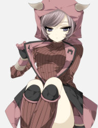 blue_eyes boots gloves hoodie kagari_(pokemon) kagari_(pokemon)_(remake) misteor pokemon pokemon_(game) pokemon_oras purple_hair ribbed_sweater sweater team_magma