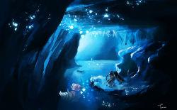 cave mawile nintendo no_humans partially_submerged pokemon pokemon_(game) red_eyes slowbro water