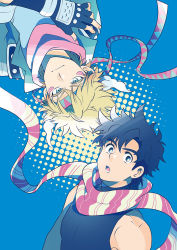 2boys black_eyes blonde_hair blue_background blue_eyes caesar_anthonio_zeppeli facial_mark fingerless_gloves gloves halftone hamadaichi headband jacket jojo_no_kimyou_na_bouken joseph_joestar_(young) male_focus multiple_boys open_mouth scarf striped striped_scarf upside-down winged_hair_ornament