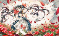 1girl dress floating_hair flower garters green_eyes hair_ribbon hatsune_miku long_hair necktie petals ribbon solo thighhighs twintails very_long_hair vima vocaloid