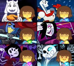 armor black_hair blue_eyes bone brown_hair cup energy_spear extra_arms extra_eyes eyelashes eyepatch eyes_closed fangs frisk_(undertale) furry gloves glowing glowing_eye graph grin hair_over_one_eye hair_ribbon heart horns insect_girl jacket knife mettaton mettaton-ex mettaton_ex monster muffet's_pet one_eye_closed open_mouth papyrus_(undertale) pie polearm ponytail purple_skin red_eyes red_hair ribbon sans scarf sharp_teeth shirt short_twintails skeleton skull smile snow spear spider_girl spoilers striped striped_shirt teacup teeth tongue tongue_out toriel twintails undertale undyne unoobang weapon yellow_sclera yellow_teeth
