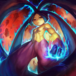 1girl abs breasts extra_mouth glowing glowing_fist mawile mega_mawile mega_pokemon muscle navel no_humans pokemon pokemon_(game) red_eyes serious small_breasts solo topless yilx